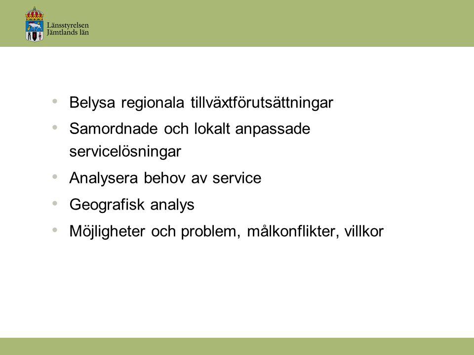 Belysa regionala tillväxtförutsättningar Samordnade och lokalt anpassade servicelösningar Analysera behov av service Geografisk analys Möjligheter och problem, målkonflikter, villkor