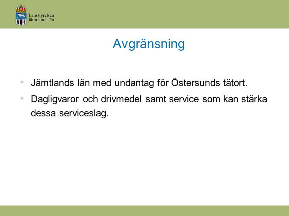 Avgränsning Jämtlands län med undantag för Östersunds tätort.