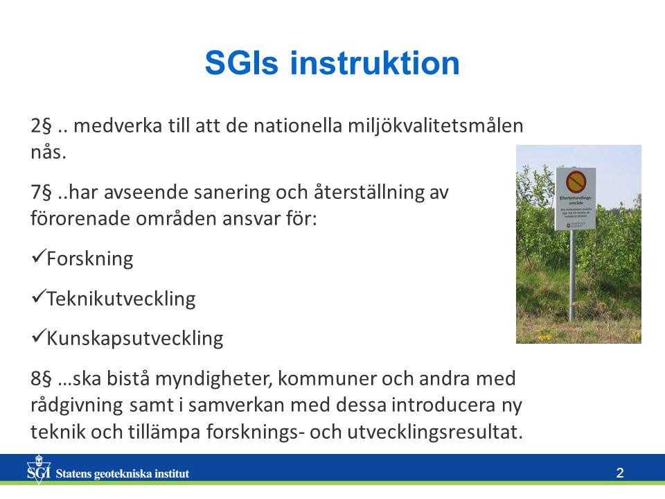 2 SGIs instruktion 2§.. medverka till att de nationella miljökvalitetsmålen nås. 7§..har avseende sanering och återställning av förorenade områden ans