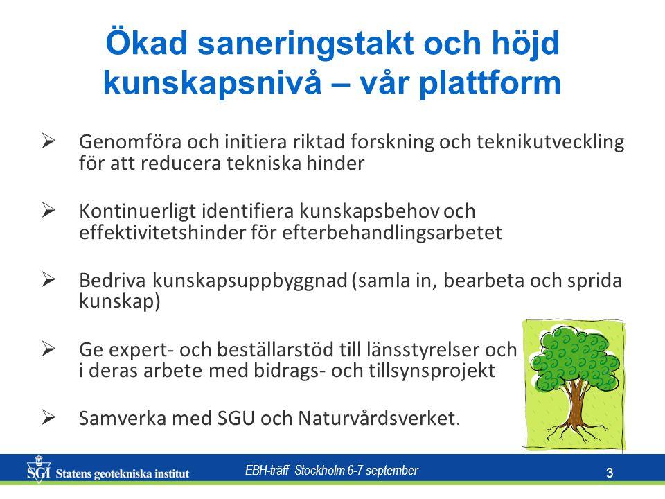 EBH-träff Stockholm 6-7 september 3 Ökad saneringstakt och höjd kunskapsnivå – vår plattform  Genomföra och initiera riktad forskning och teknikutveckling för att reducera tekniska hinder  Kontinuerligt identifiera kunskapsbehov och effektivitetshinder för efterbehandlingsarbetet  Bedriva kunskapsuppbyggnad (samla in, bearbeta och sprida kunskap)  Ge expert- och beställarstöd till länsstyrelser och kommuner i deras arbete med bidrags- och tillsynsprojekt  Samverka med SGU och Naturvårdsverket.