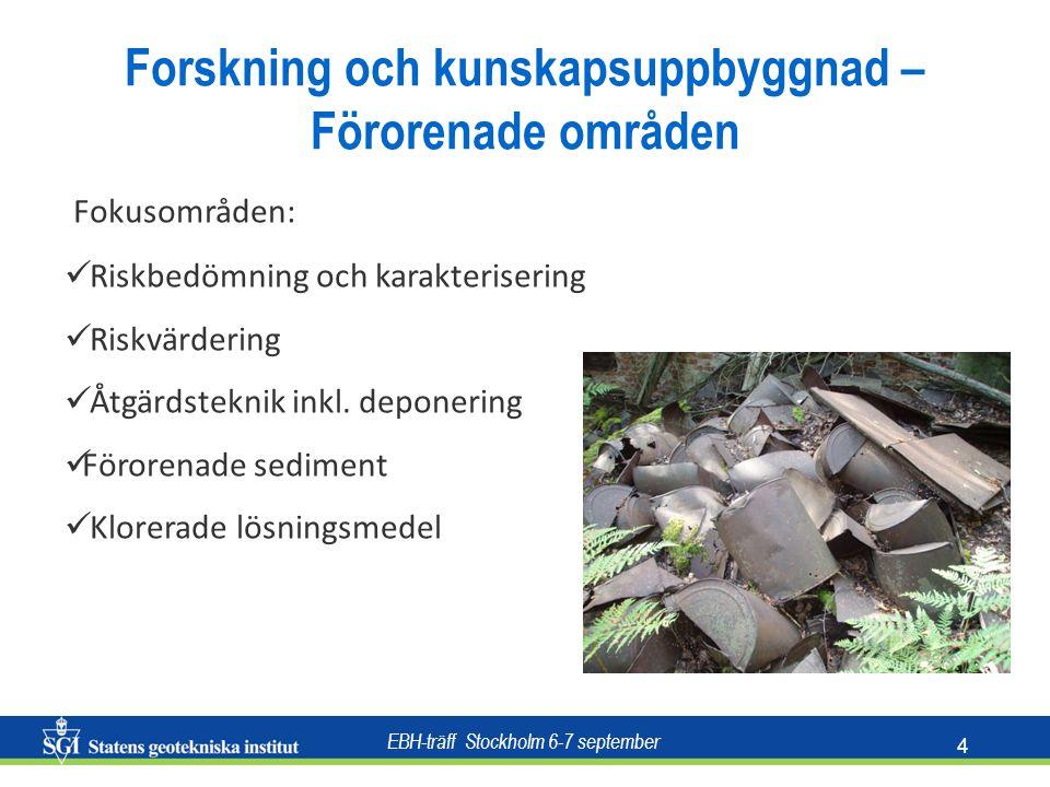 EBH-träff Stockholm 6-7 september 4 Fokusområden: Riskbedömning och karakterisering Riskvärdering Åtgärdsteknik inkl. deponering Förorenade sediment K