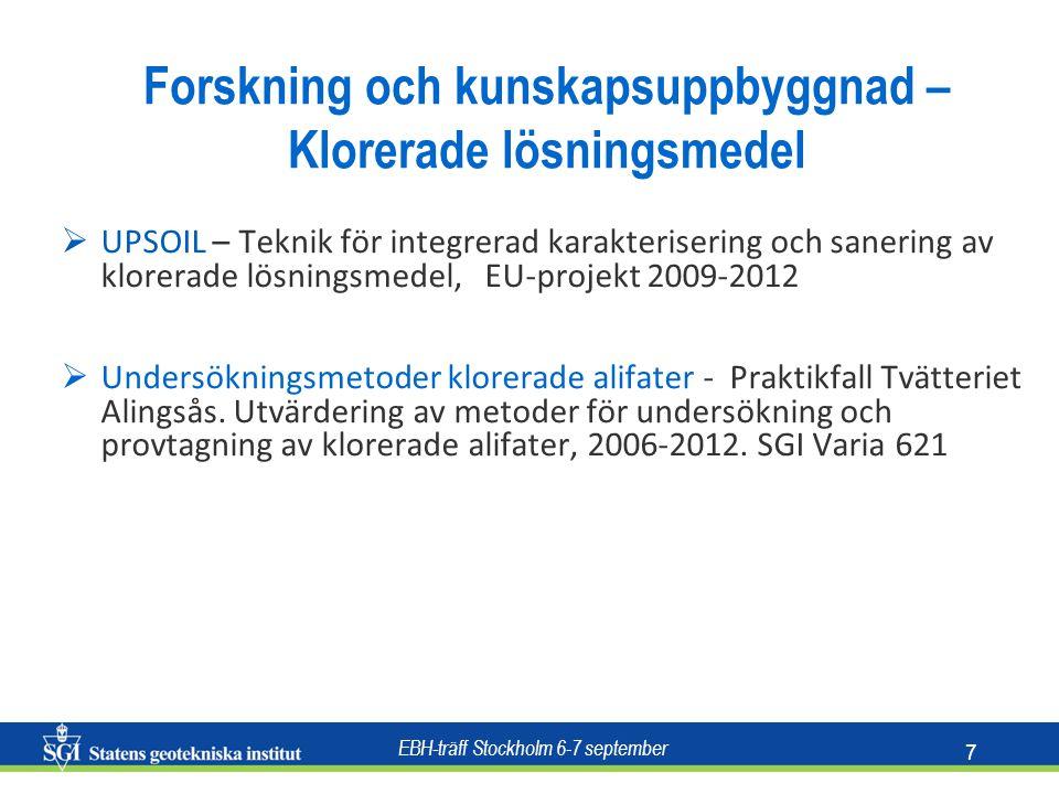 EBH-träff Stockholm 6-7 september 7  UPSOIL – Teknik för integrerad karakterisering och sanering av klorerade lösningsmedel, EU-projekt 2009-2012  Undersökningsmetoder klorerade alifater - Praktikfall Tvätteriet Alingsås.