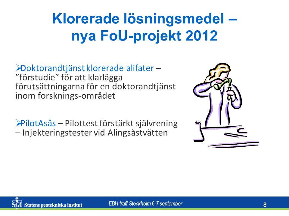 EBH-träff Stockholm 6-7 september 8 Klorerade lösningsmedel – nya FoU-projekt 2012  Doktorandtjänst klorerade alifater – förstudie för att klarlägga förutsättningarna för en doktorandtjänst inom forsknings-området  PilotAsås – Pilottest förstärkt självrening – Injekteringstester vid Alingsåstvätten