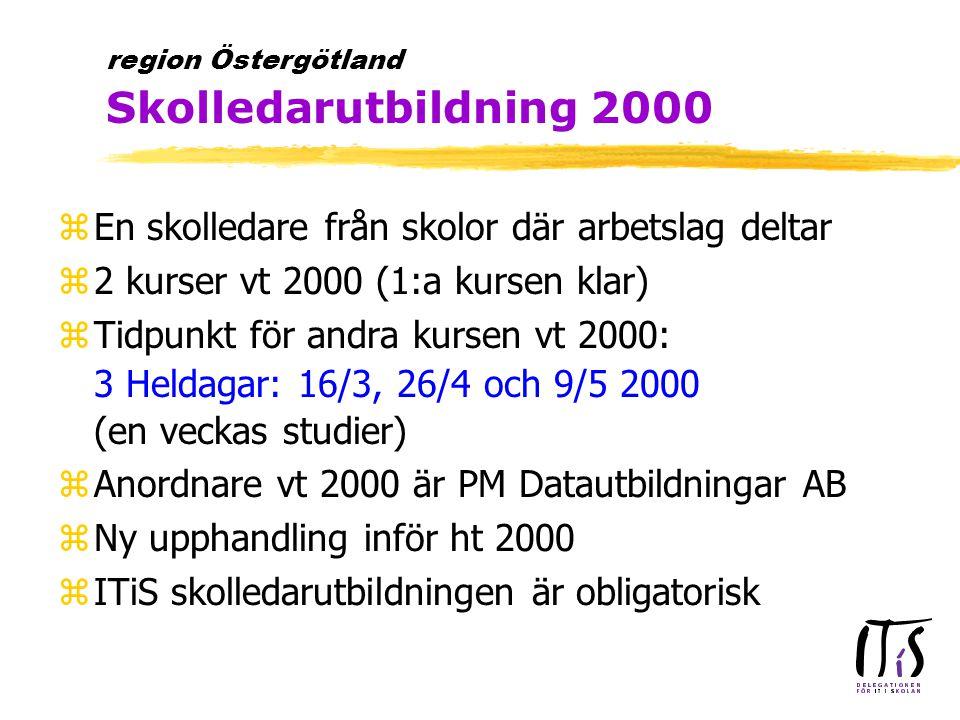 zEn skolledare från skolor där arbetslag deltar z2 kurser vt 2000 (1:a kursen klar)  Tidpunkt för andra kursen vt 2000: 3 Heldagar: 16/3, 26/4 och 9/5 2000 (en veckas studier) zAnordnare vt 2000 är PM Datautbildningar AB zNy upphandling inför ht 2000 zITiS skolledarutbildningen är obligatorisk region Östergötland Skolledarutbildning 2000