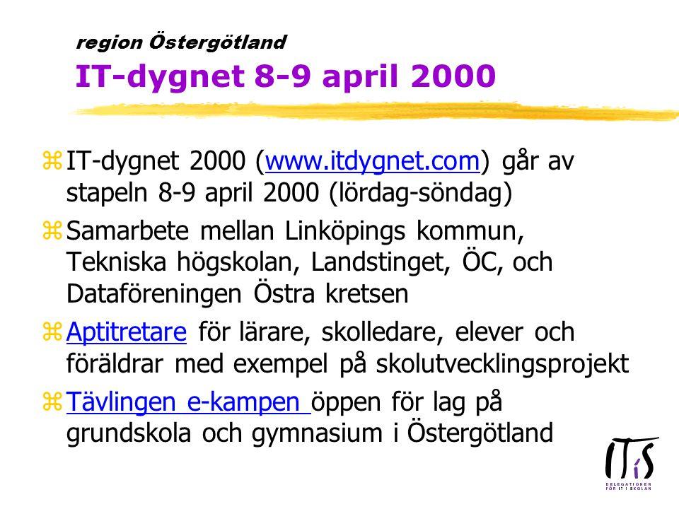 zIT-dygnet 2000 (www.itdygnet.com) går av stapeln 8-9 april 2000 (lördag-söndag)www.itdygnet.com zSamarbete mellan Linköpings kommun, Tekniska högskolan, Landstinget, ÖC, och Dataföreningen Östra kretsen zAptitretare för lärare, skolledare, elever och föräldrar med exempel på skolutvecklingsprojektAptitretare zTävlingen e-kampen öppen för lag på grundskola och gymnasium i ÖstergötlandTävlingen e-kampen region Östergötland IT-dygnet 8-9 april 2000
