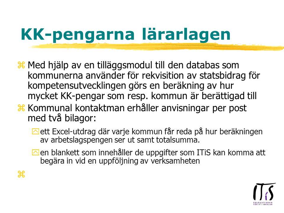 KK-pengarna lärarlagen zMed hjälp av en tilläggsmodul till den databas som kommunerna använder för rekvisition av statsbidrag för kompetensutvecklingen görs en beräkning av hur mycket KK-pengar som resp.