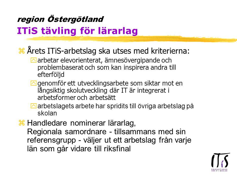 region Östergötland ITiS tävling för lärarlag zÅrets ITiS-arbetslag ska utses med kriterierna: yarbetar elevorienterat, ämnesövergipande och problembaserat och som kan inspirera andra till efterföljd ygenomför ett utvecklingsarbete som siktar mot en långsiktig skolutveckling där IT är integrerat i arbetsformer och arbetsätt yarbetslagets arbete har spridits till övriga arbetslag på skolan zHandledare nominerar lärarlag, Regionala samordnare - tillsammans med sin referensgrupp - väljer ut ett arbetslag från varje län som går vidare till riksfinal