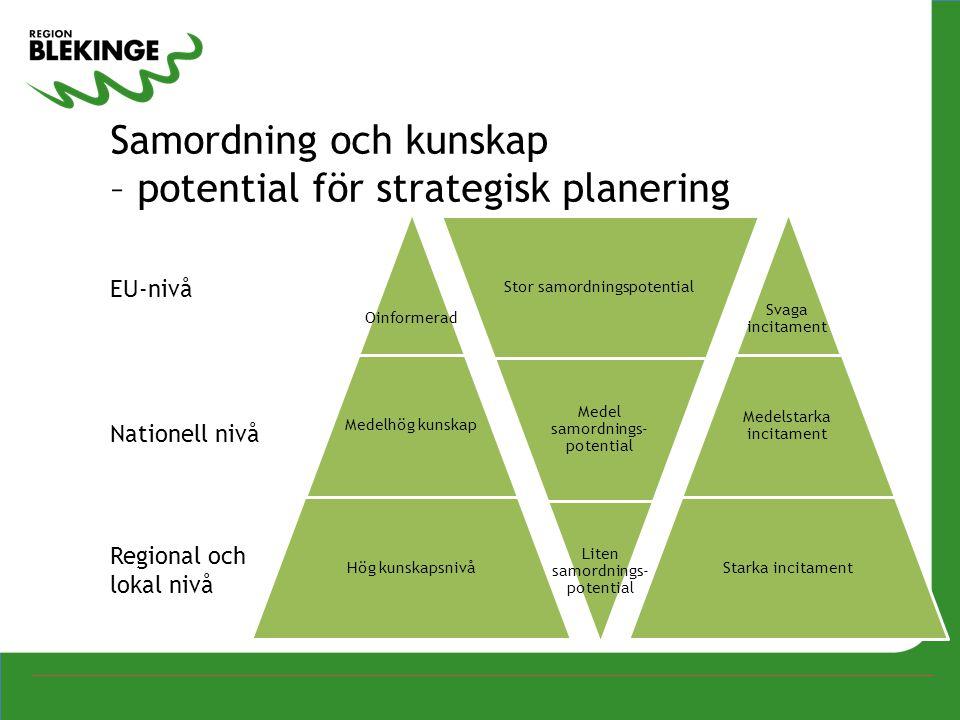 EU-nivå Nationell nivå Regional och lokal nivå Samordning och kunskap – potential för strategisk planering