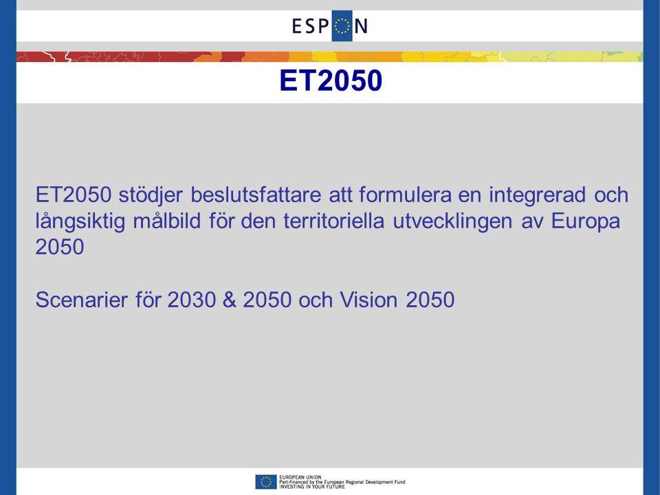 ET2050 stödjer beslutsfattare att formulera en integrerad och långsiktig målbild för den territoriella utvecklingen av Europa 2050 Scenarier för 2030