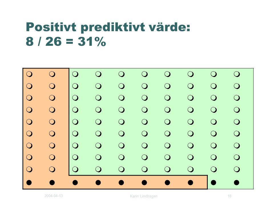 2004-04-13 Karin Lindhagen 18 Positivt prediktivt värde: 8 / 26 = 31%        