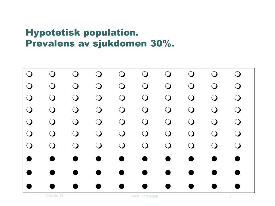2004-04-13 Karin Lindhagen 3 Hypotetisk population. Prevalens av sjukdomen 30%.       