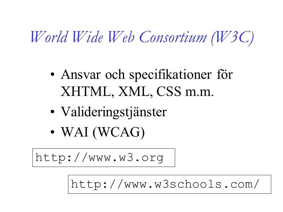 World Wide Web Consortium (W3C) Ansvar och specifikationer för XHTML, XML, CSS m.m.