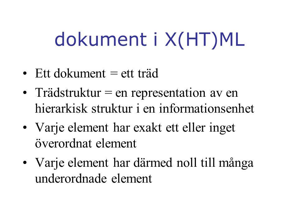 dokument i X(HT)ML Ett dokument = ett träd Trädstruktur = en representation av en hierarkisk struktur i en informationsenhet Varje element har exakt ett eller inget överordnat element Varje element har därmed noll till många underordnade element