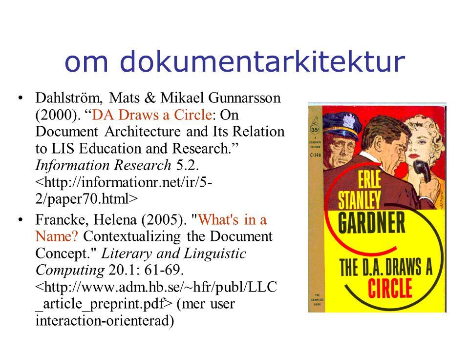 om dokumentarkitektur Dahlström, Mats & Mikael Gunnarsson (2000).