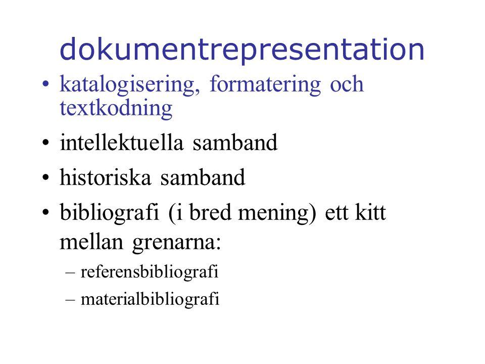 dokumentrepresentation katalogisering, formatering och textkodning intellektuella samband historiska samband bibliografi (i bred mening) ett kitt mellan grenarna: –referensbibliografi –materialbibliografi