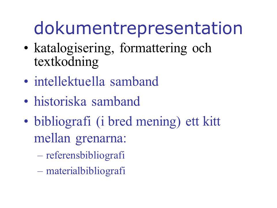 dokumentrepresentation katalogisering, formattering och textkodning intellektuella samband historiska samband bibliografi (i bred mening) ett kitt mellan grenarna: –referensbibliografi –materialbibliografi