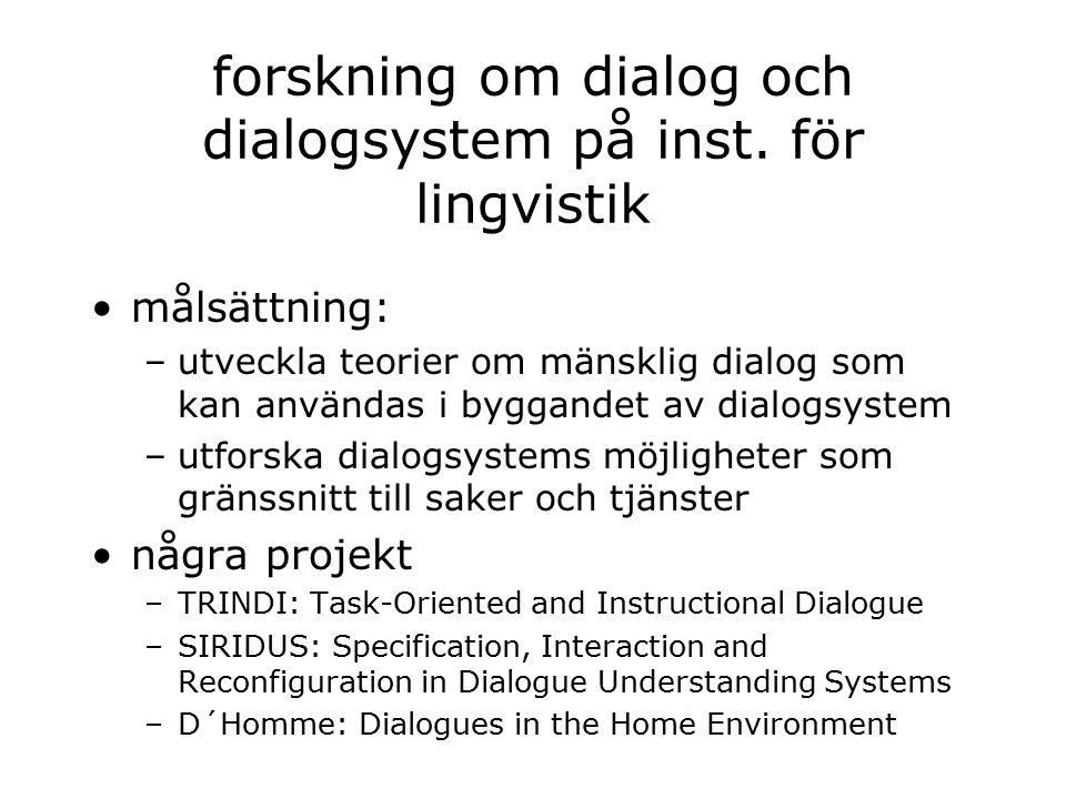 forskning om dialog och dialogsystem på inst.