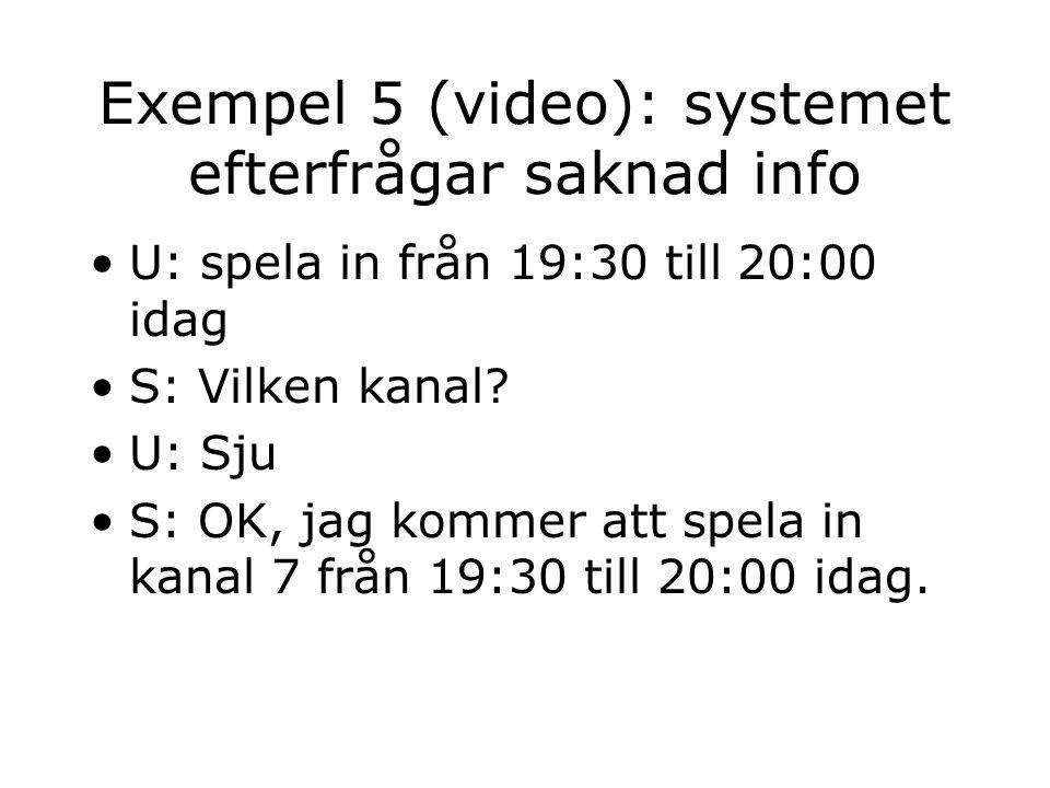 Exempel 5 (video): systemet efterfrågar saknad info U: spela in från 19:30 till 20:00 idag S: Vilken kanal.