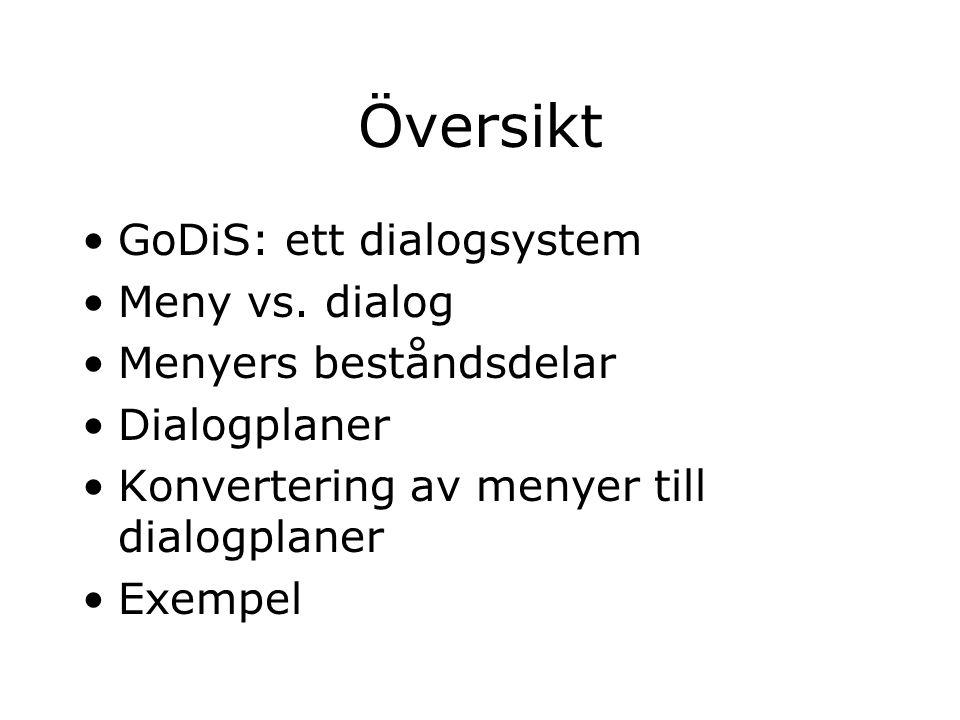Översikt GoDiS: ett dialogsystem Meny vs.