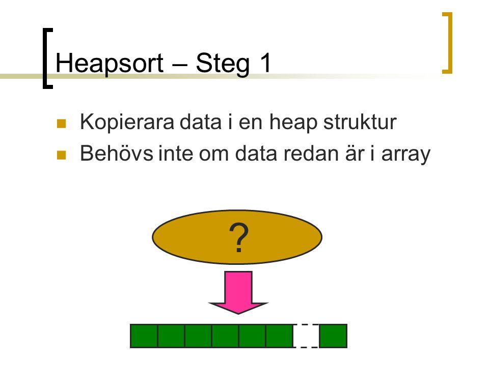 Heapsort – Steg 1 Kopierara data i en heap struktur Behövs inte om data redan är i array ?