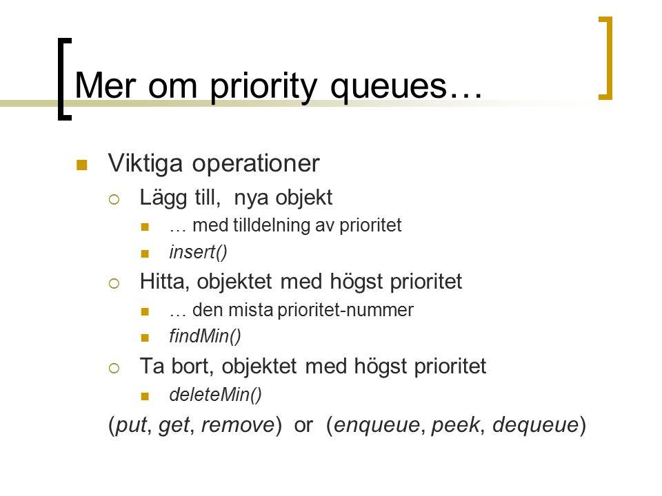 Mer om priority queues… Viktiga operationer  Lägg till, nya objekt … med tilldelning av prioritet insert()  Hitta, objektet med högst prioritet … den mista prioritet-nummer findMin()  Ta bort, objektet med högst prioritet deleteMin() (put, get, remove) or (enqueue, peek, dequeue)
