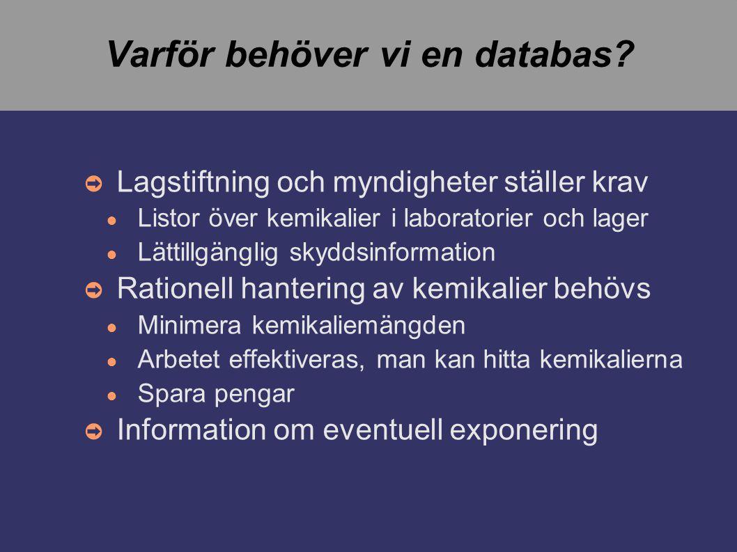 Varför behöver vi en databas.