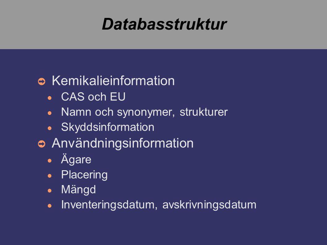 Databasstruktur ➲ Kemikalieinformation ● CAS och EU ● Namn och synonymer, strukturer ● Skyddsinformation ➲ Användningsinformation ● Ägare ● Placering ● Mängd ● Inventeringsdatum, avskrivningsdatum