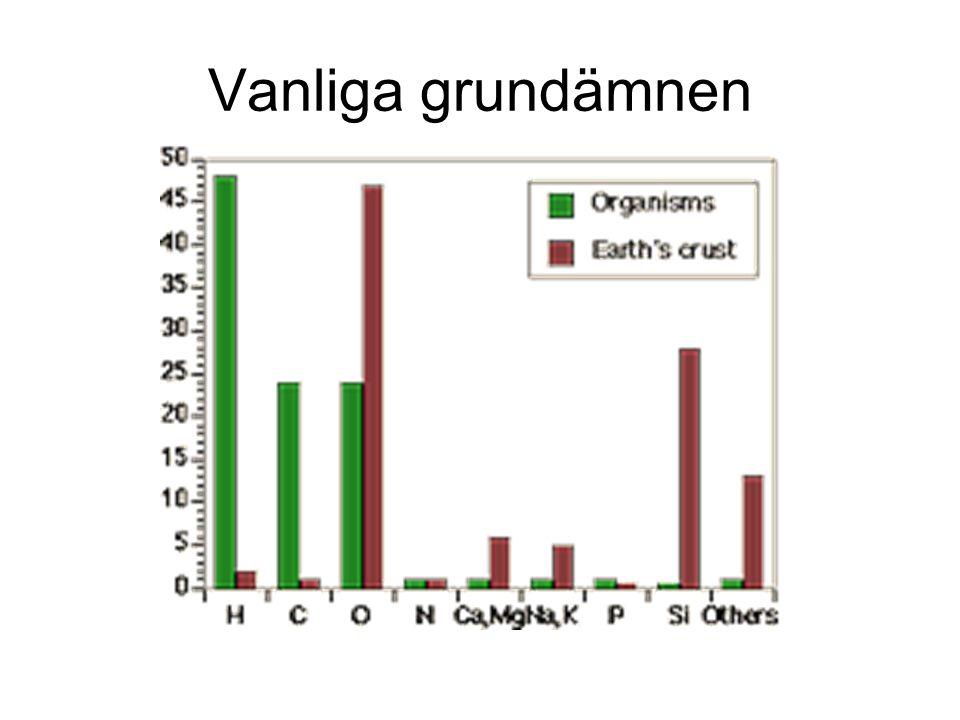 H C O N Ca Mg Na K P S Se även tab. 2.1 i Holum Fyll i namn, både på svenska och engelska!
