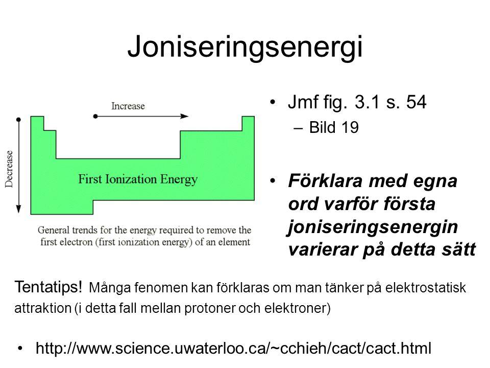 Sammanfattning egenskaper Inom varje period gäller: Stryk det som inte gäller Ju högre atomnummer desto lättare/svårare att ta bort elektroner Ju högre atomnummer desto lägre/högre första joniseringsenengi Metaller vill förlora/lägga till elektroner Icke-metaller vill förlora/lägga till elektroner