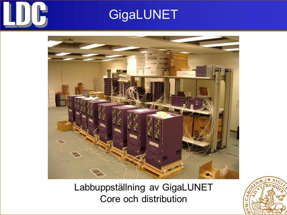 Labbuppställning av GigaLUNET Core och distribution