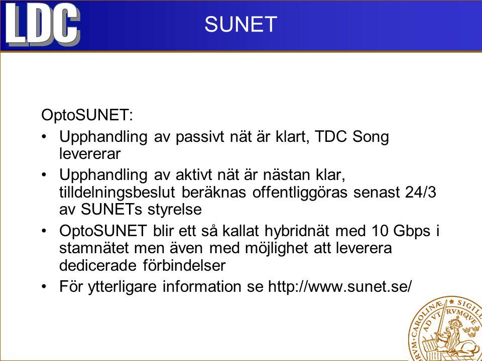 SUNET OptoSUNET: Upphandling av passivt nät är klart, TDC Song levererar Upphandling av aktivt nät är nästan klar, tilldelningsbeslut beräknas offentliggöras senast 24/3 av SUNETs styrelse OptoSUNET blir ett så kallat hybridnät med 10 Gbps i stamnätet men även med möjlighet att leverera dedicerade förbindelser För ytterligare information se http://www.sunet.se/