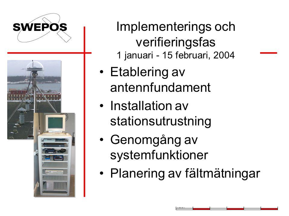 Implementerings och verifieringsfas 1 januari - 15 februari, 2004 Etablering av antennfundament Installation av stationsutrustning Genomgång av system