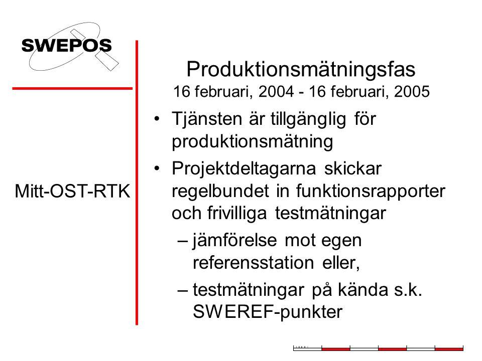 Produktionsmätningsfas 16 februari, 2004 - 16 februari, 2005 Tjänsten är tillgänglig för produktionsmätning Projektdeltagarna skickar regelbundet in f
