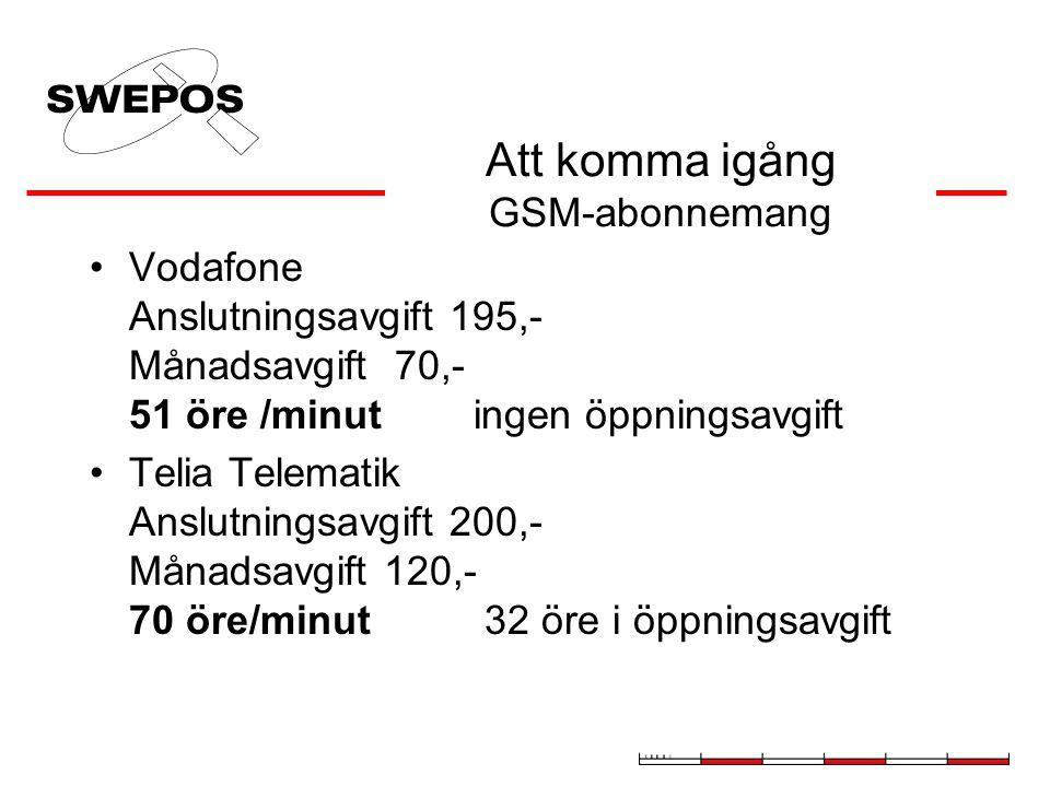 Att komma igång GSM-abonnemang Vodafone Anslutningsavgift 195,- Månadsavgift 70,- 51 öre /minut ingen öppningsavgift Telia Telematik Anslutningsavgift