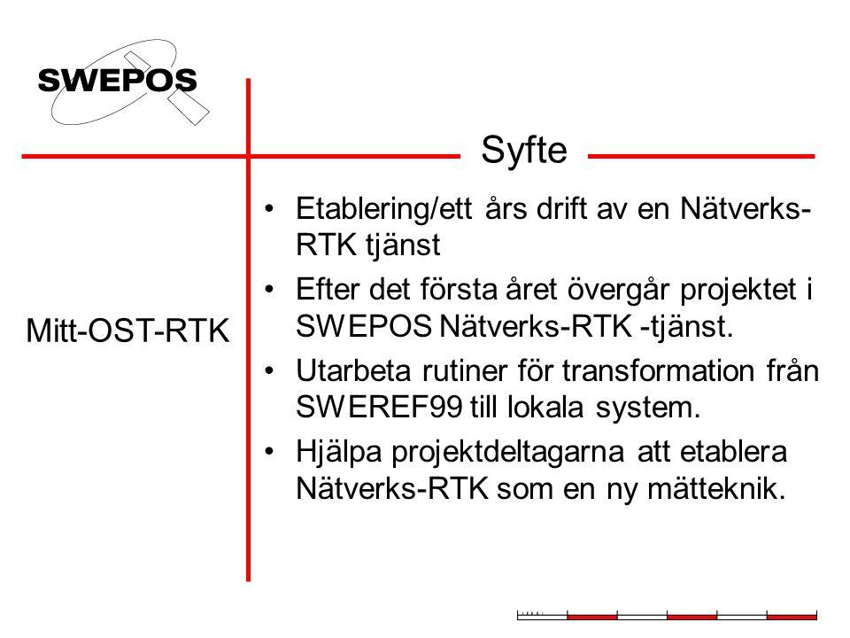 Syfte Etablering/ett års drift av en Nätverks- RTK tjänst Efter det första året övergår projektet i SWEPOS Nätverks-RTK -tjänst. Utarbeta rutiner för