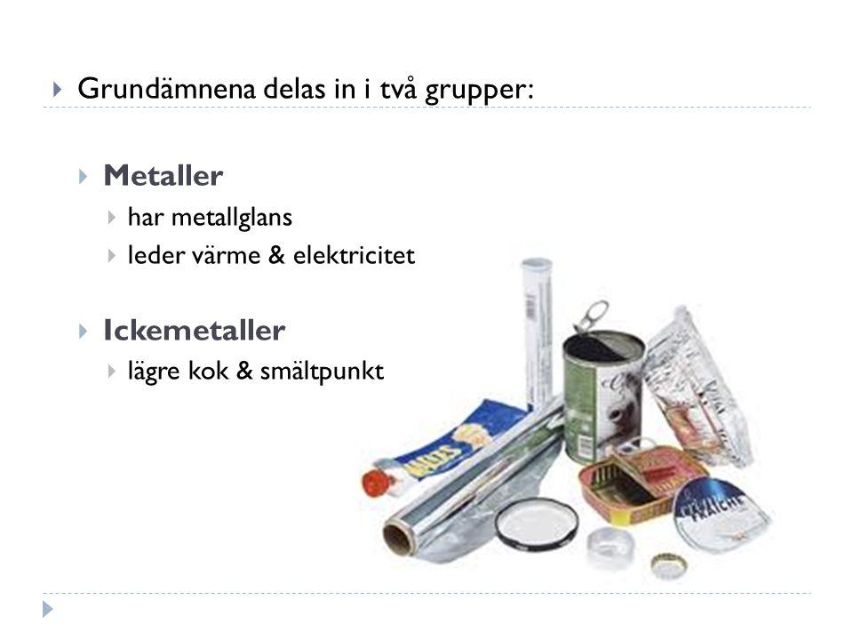 Grundämnena delas in i två grupper:  Metaller  har metallglans  leder värme & elektricitet  Ickemetaller  lägre kok & smältpunkt