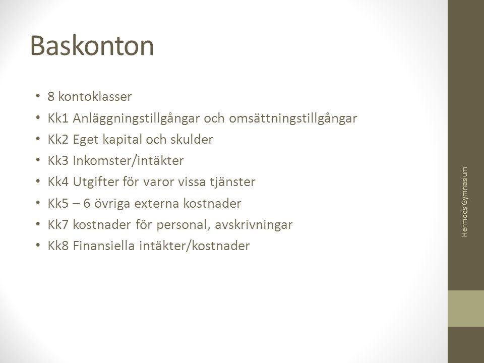 Baskonton 8 kontoklasser Kk1 Anläggningstillgångar och omsättningstillgångar Kk2 Eget kapital och skulder Kk3 Inkomster/intäkter Kk4 Utgifter för varo