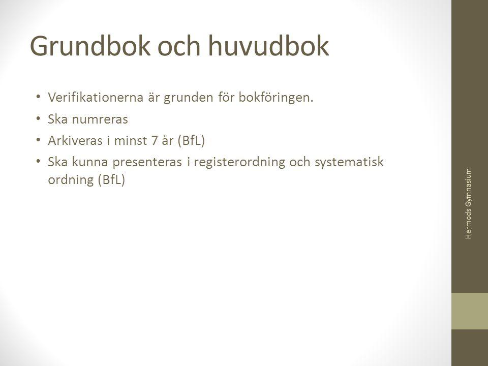 Grundbok och huvudbok Verifikationerna är grunden för bokföringen. Ska numreras Arkiveras i minst 7 år (BfL) Ska kunna presenteras i registerordning o