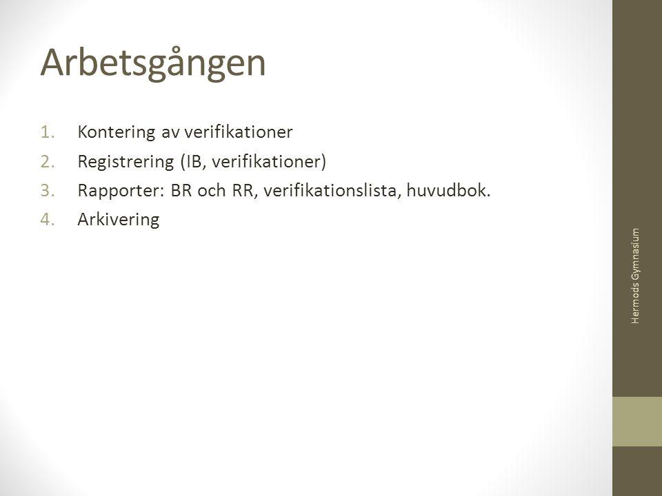Arbetsgången 1.Kontering av verifikationer 2.Registrering (IB, verifikationer) 3.Rapporter: BR och RR, verifikationslista, huvudbok. 4.Arkivering Herm