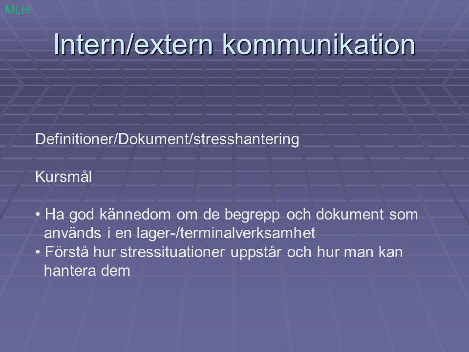 Intern/extern kommunikation Begrepp MLH Arbetsledare Kolli Lagerplats Pall Hylla Artikel