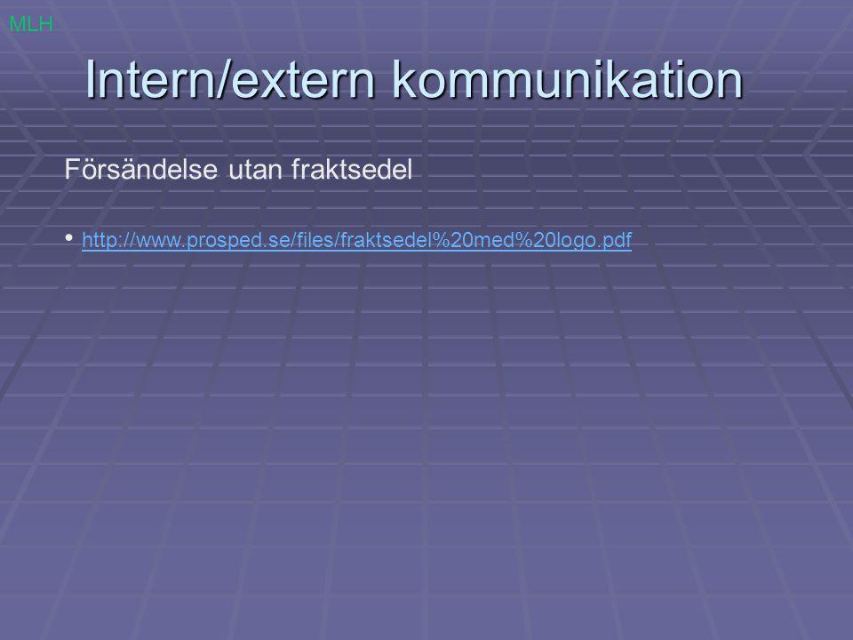 Intern/extern kommunikation Försändelse utan fraktsedel http://www.prosped.se/files/fraktsedel%20med%20logo.pdf MLH
