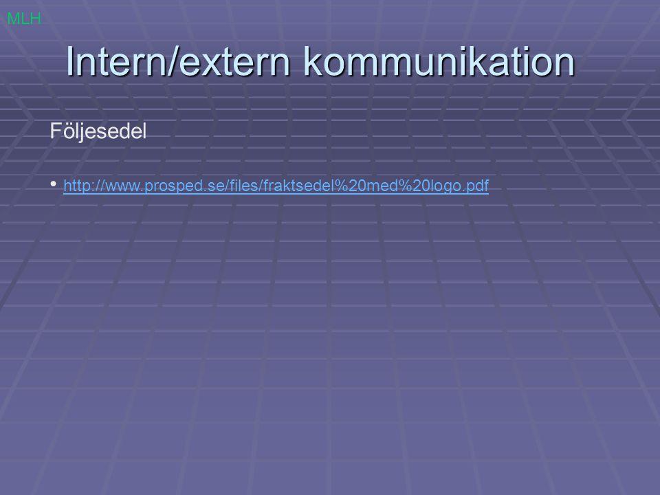 Intern/extern kommunikation Följesedel http://www.prosped.se/files/fraktsedel%20med%20logo.pdf MLH