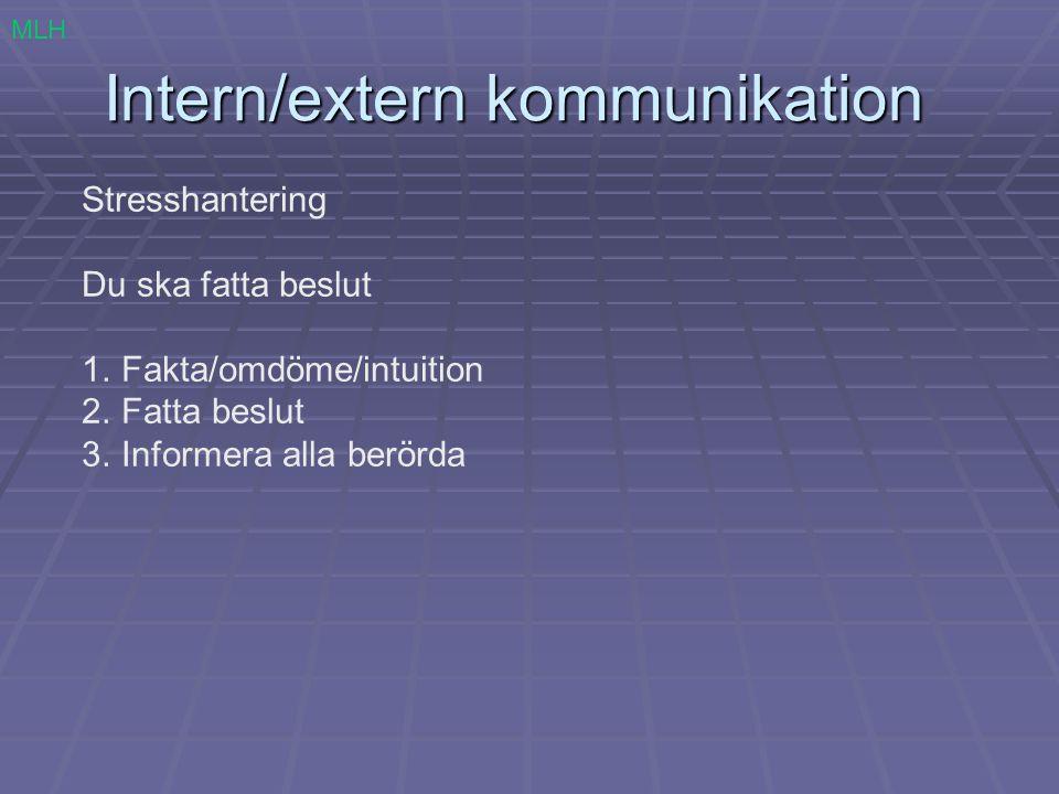 Intern/extern kommunikation Stresshantering Du ska fatta beslut 1.Fakta/omdöme/intuition 2.Fatta beslut 3.Informera alla berörda MLH