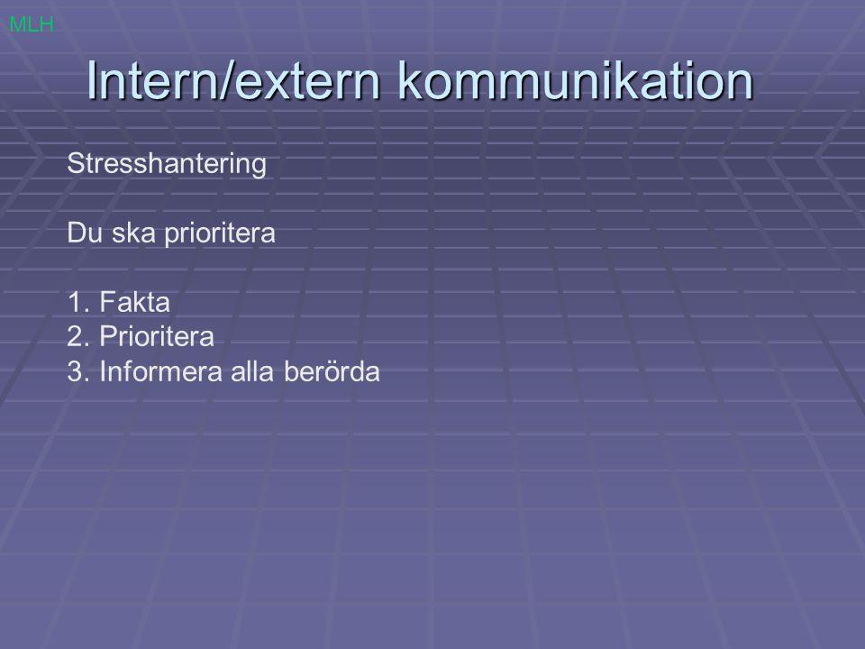 Intern/extern kommunikation Stresshantering Du ska prioritera 1.Fakta 2.Prioritera 3.Informera alla berörda MLH