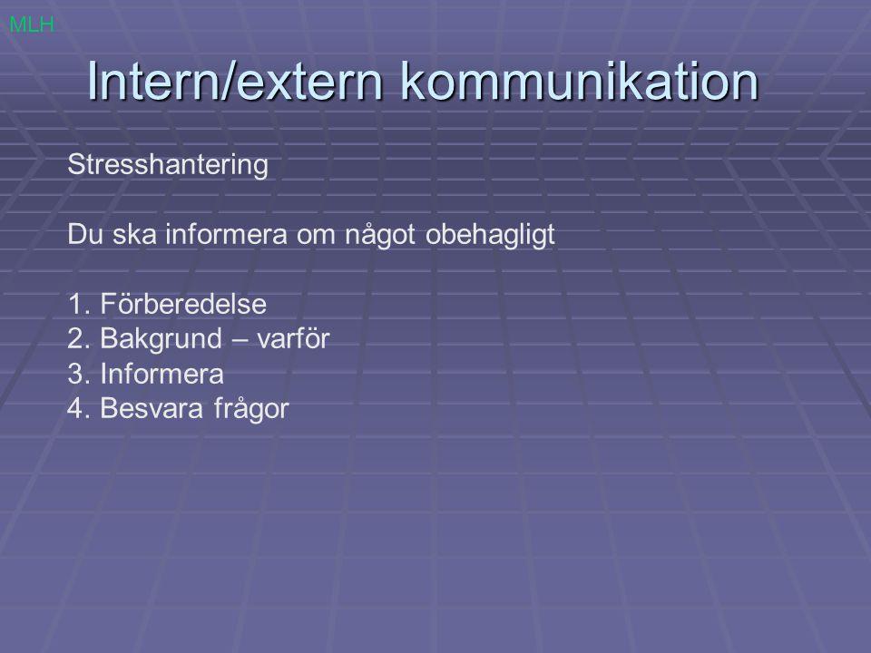 Intern/extern kommunikation Stresshantering Du ska informera om något obehagligt 1.Förberedelse 2.Bakgrund – varför 3.Informera 4.Besvara frågor MLH