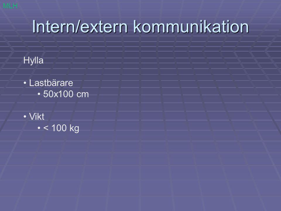 Intern/extern kommunikation MLH Hylla Lastbärare 50x100 cm Vikt < 100 kg