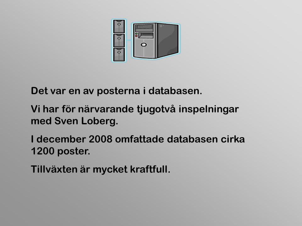 Det var en av posterna i databasen. Vi har för närvarande tjugotvå inspelningar med Sven Loberg.