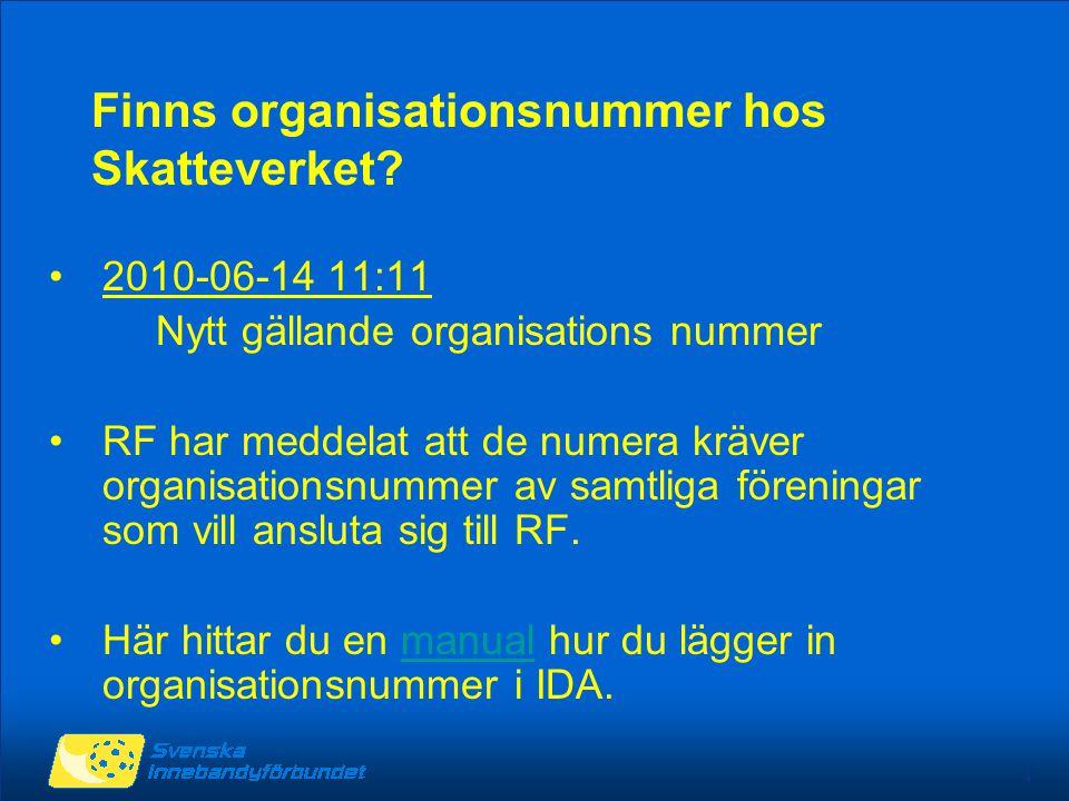 4 Finns organisationsnummer hos Skatteverket? 2010-06-14 11:11 Nytt gällande organisations nummer RF har meddelat att de numera kräver organisationsnu