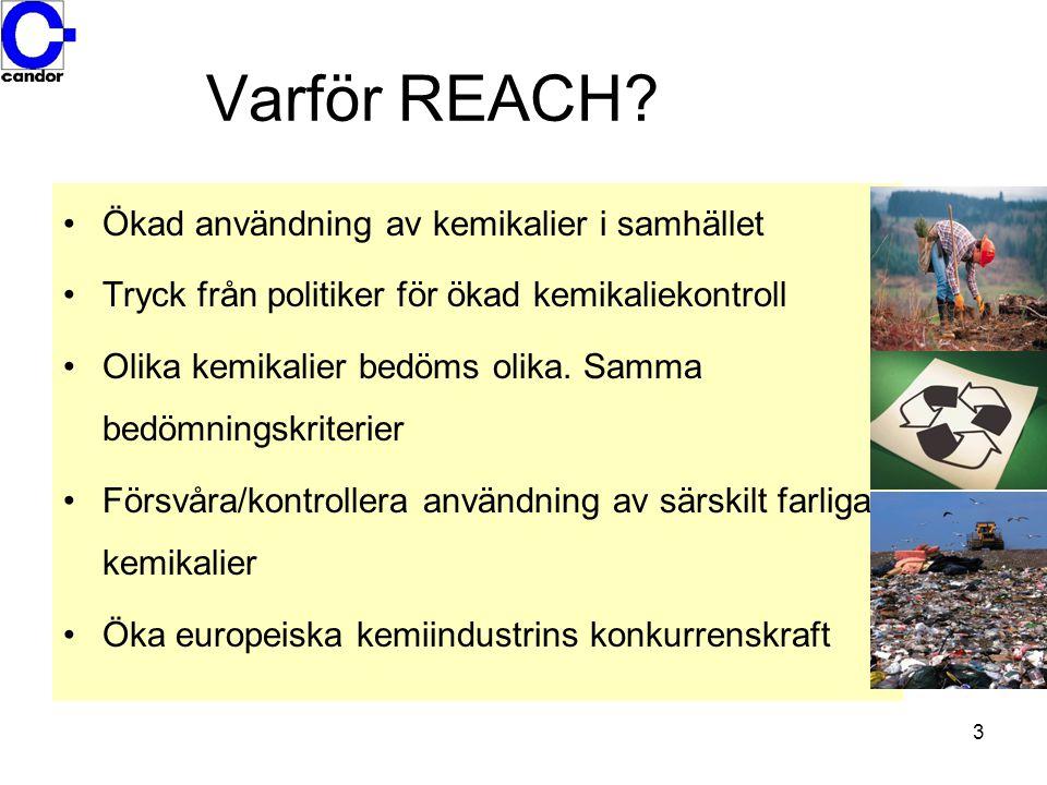 4 REACH Registrering av alla ämnen som tillverkas eller importeras i mängder ≥ 1 ton Utvärdering av ämnen.