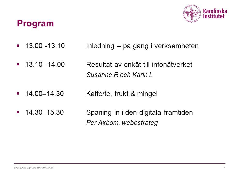 Program  13.00 -13.10 Inledning – på gång i verksamheten  13.10 -14.00 Resultat av enkät till infonätverket Susanne R och Karin L  14.00–14.30 Kaff